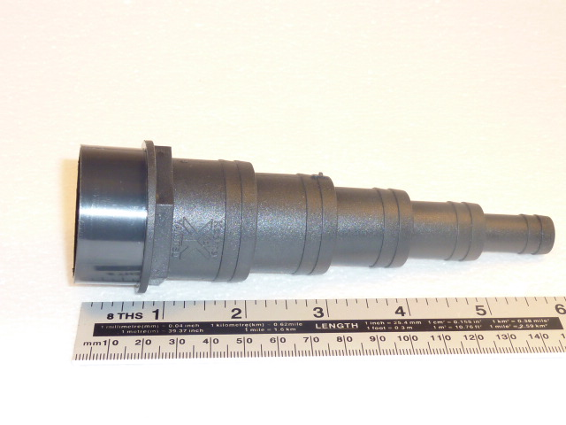 "multi-size stepped hosetail solvent weld end to fit 1.5"" fitting"